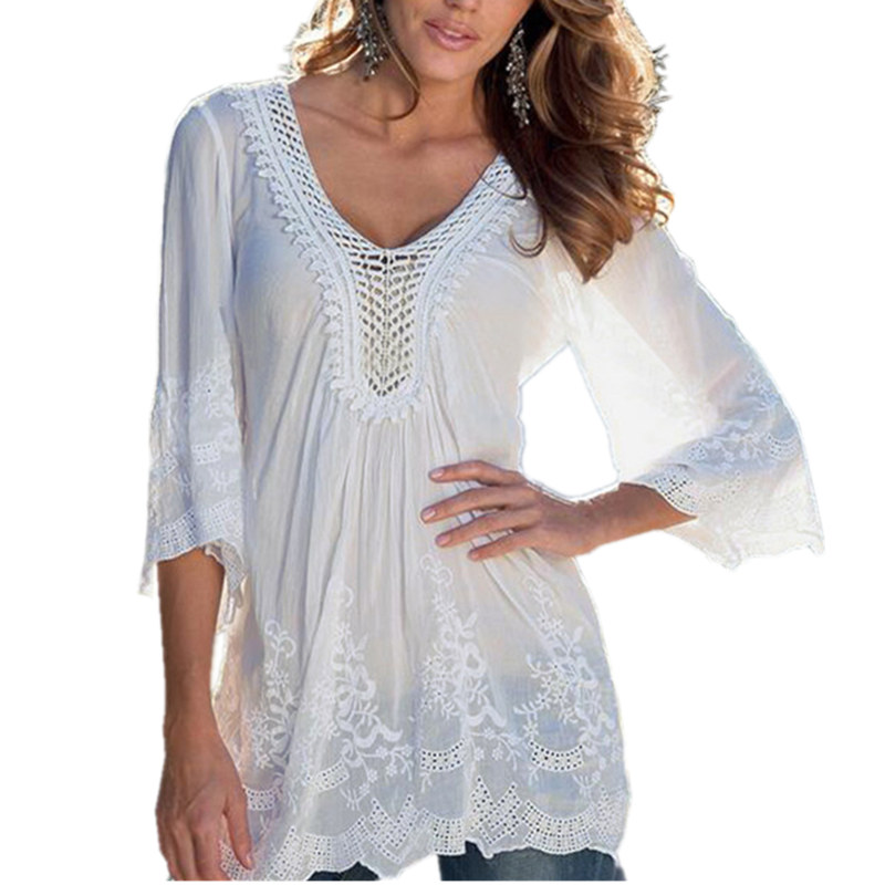 2017 New Womens Ladies Sexy Lace Hollow Design V neck 3 4 Sleeve White  Blouses See Through Summer Beach Tops Shirts Blusas. Online Get Cheap Ladies Long Tops Designs  Aliexpress com