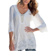 2016 New Womens Ladies Sexy Lace Hollow Design V Neck 3 4 Sleeve White Blouses See