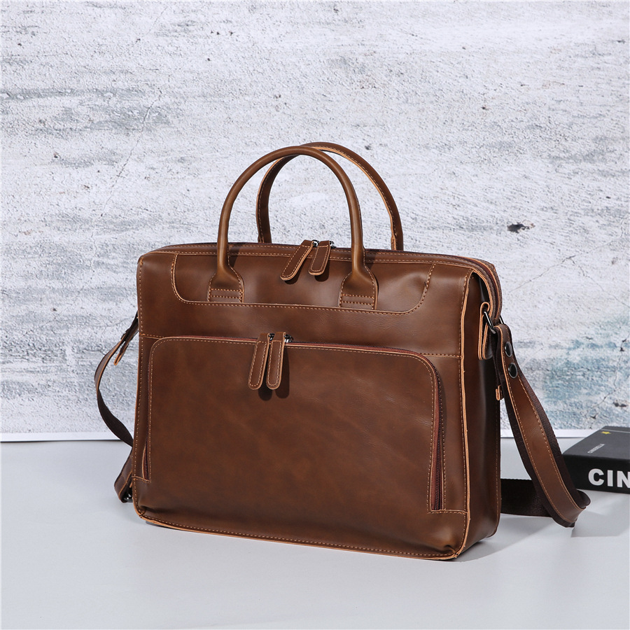 Vintage Crazy Horse PU Leather Men's Briefcase Handbag Messenger Travel Bag Business Men Tote Bags Retro Man Crossbody Briefcase