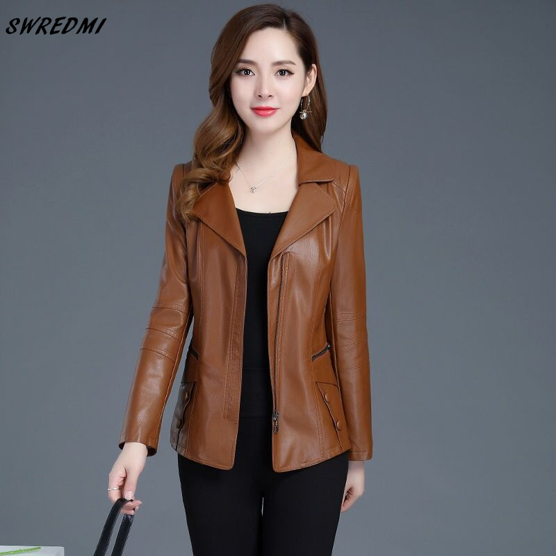 SWREDMI Women's   Leather   Coat 2019 Autumn And Winter Female Jacket Plus Size L-5XL   Leather   Clothing Outerwear Woman   Suede   Tops