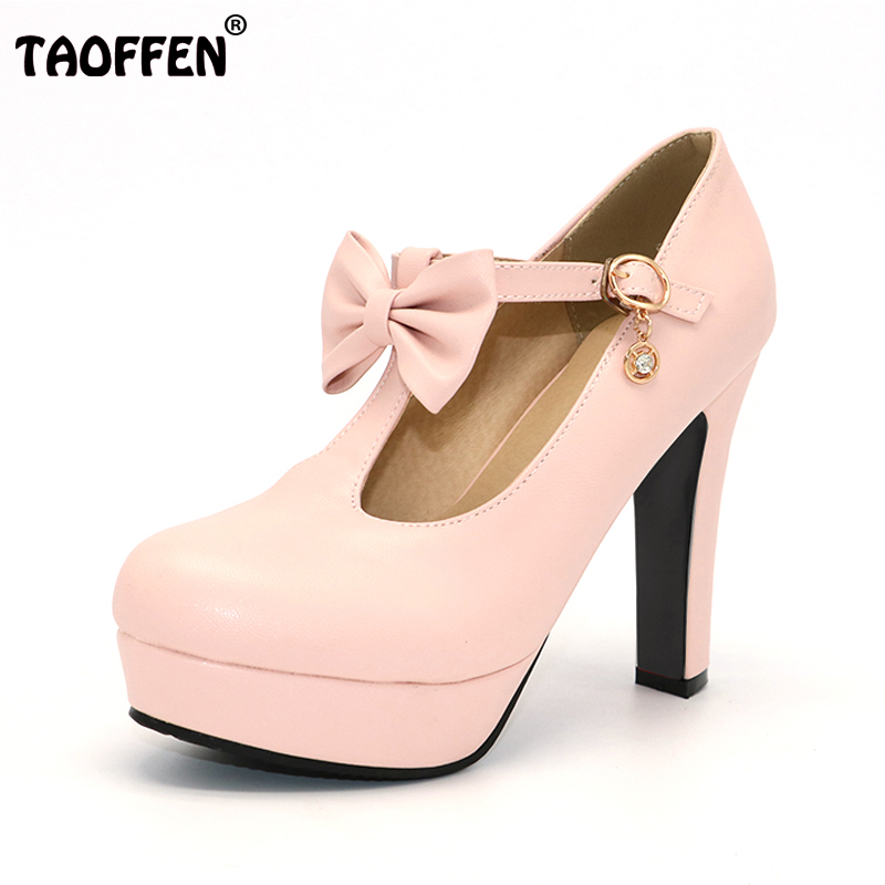 TAOFFEN Size 31-47 Vintage T-strap Women High Heel Shoes Ladies Brand Bowtie Round Toe Heeled Pumps Fashion Platform Shoes Women kemekiss size 33 42 women s high heel wedge shoes women cross strap platform pumps round toe casual mixed color ladies footwear