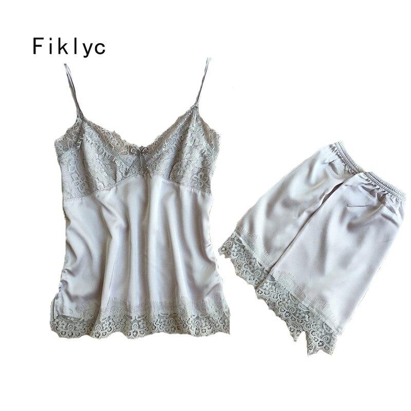 Fiklyc brand women's sexy   pajamas     sets   fashion luxury lace & satin two pieces female v-neck nighties short pants summer homewear