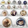 Joyería del Animal Doméstico Collar Del Gato Encantador de la mezcla plateado cristal de los colgantes de Moda Collar Pendiente Animal Arte foto collares bijouterie