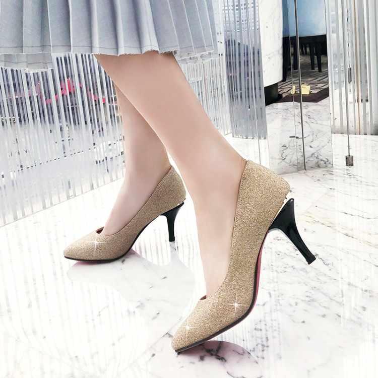 Große Größe 11 12 13 damen high heels frauen schuhe frau pumpen Paket die ferse Paket zehen Flacher mund Feine mit Spitzen