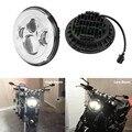 Cromo de 7 Pulgadas de accesorios de Motos Faro 40 W 7' LLEVÓ Linterna de La Motocicleta H4 Baja/Alta DRL Viga Para Davidson Harley Motocicleta