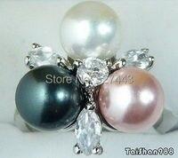 Al por mayor libre SIPP> negro blanco rosa Conchas perla 18 WGP tamaño cristalino del anillo: 7.8.9