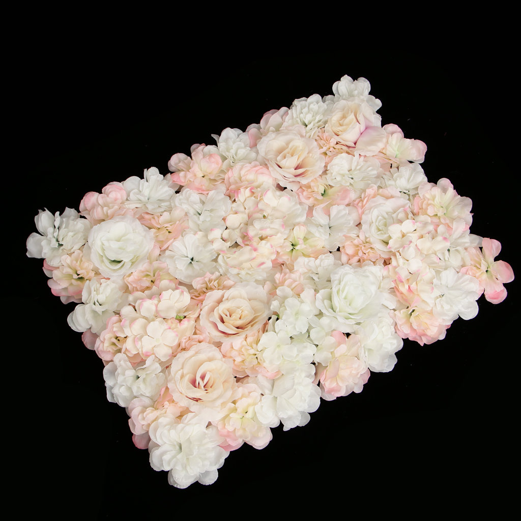 wedding : Pack of 4 Artificial Silk Flower Rose Hydrangea Wall Panels Wedding Backdrop Decor White And Champagne