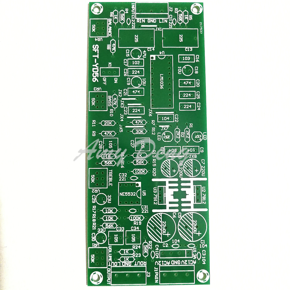 2pcs/lot Fever LM1036, N + NE5532, Pitch Board,HI FI Front Panel, PCB Empty Board