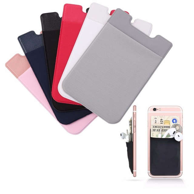 big sale 99078 b4f1d US $1.05 25% OFF|Mobile Phone Back Cards Wallet Adhesive Sticker Credit ID  Card Holder Cell Phone Card Holder Pocket-in Card & ID Holders from Luggage  ...