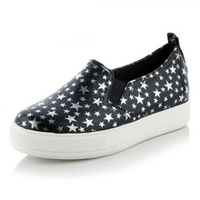 Plus size 30-44 New Women star Casual Flats Heels Round Toe platforms flat Shoes 2016 Autumn Comfortable Women driving Shoes