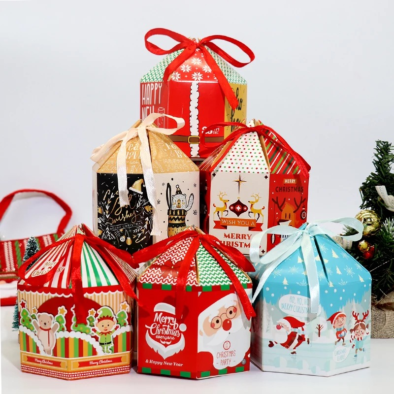 New 12*9cm 12pcs Christmas Santa Claus fun Paper Box For Party Gift Packaging House Shape candy pack Storage Boxes