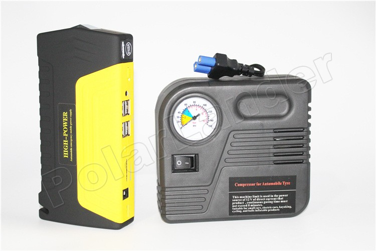 High Capacity Car booster jumper Jump Starter 4 USB Power Bank Emergency Charger for Petrol & Diesel Car with pump