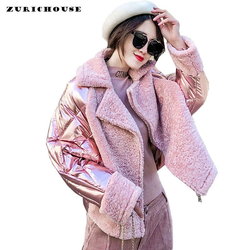 ZURICHOUSE 2020 Winter Down Jacket Women's Glossy Cotton Padded Coats Female Loose Short Pink Silver Patchwork Suede Parkas