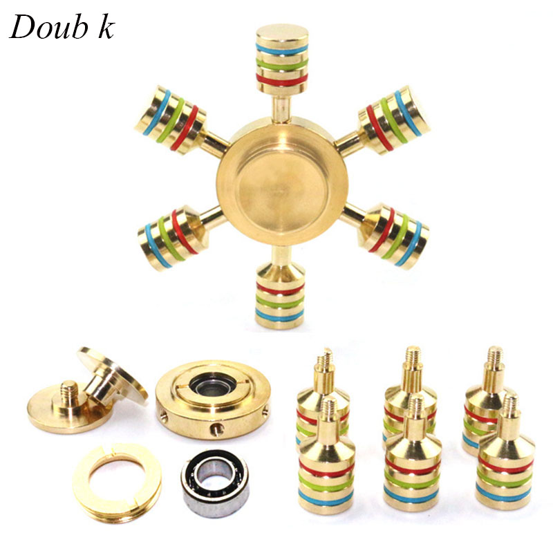 Doub K 1pcs Hand Fidget Spinner brass sliding puzzles Tri Spinner Adult Anxiety Stress Relief puzzle