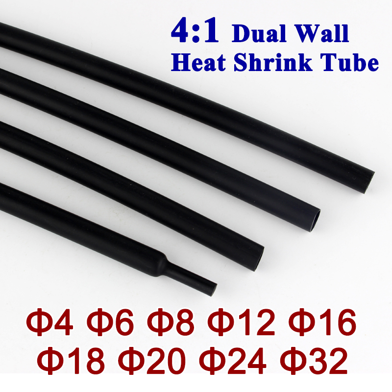 Quality Black Heat Shrink Heatshrink 24mm Sleeving 3:1 Shrink Ratio 50M Reel