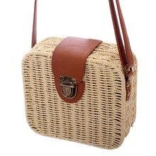 981d6d121 Retro New Doce Cor de Mini Saco de Mulher bolsa de Palha Quadrado Senhoras  Pequena bolsa