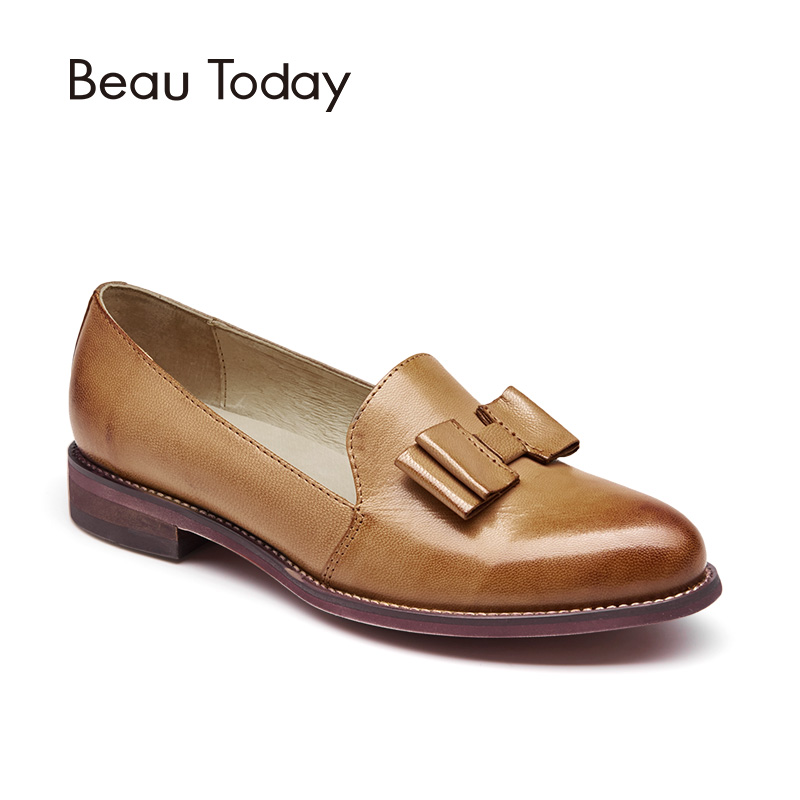 BeauToday Genuine Leather Loafers for Women Bowknot Top Brand Pointed Toe Slip On Sheepskin Flats Lady Shoes Handmade 27046 summer slip ons 45 46 9 women shoes for dancing pointed toe flats ballet ladies loafers soft sole low top gold silver black pink