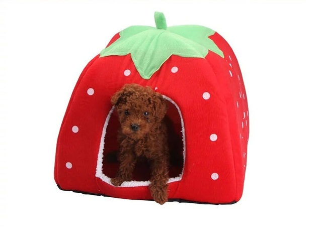 New Soft Strawberry Pet Dog Cat Rabbit Bed House Kennel Doggy Warm Cushion Basket Color S~XL, 5 Colors New Leopard