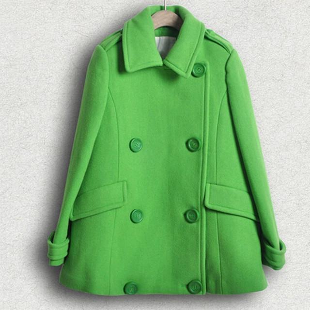 Abrigo de lana Femenino 2016 de Color Verde Sólido Abrigos Mujer Otoño Doble de Pecho Da Vuelta-abajo Abrigo prendas de Vestir Exteriores Ocasional C8111
