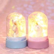 Ins Cartoon Unicorn Night Light Baby Nursery Lamp Bedroom Decoration Everlasting Flower Star Toy Christmas Gift For Kids