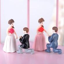 2 шт./пара Kawaii предложить брак Lover фигурки свадебные куклы миниатюры пару моделей DIY ПВХ Craft Орнамент Украшение Автомобиля
