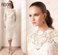 2017 Glamorous Ivory lace illusion mother of the bride dresses long sleeves Tea-length Sheath short style prom cocktail gowns