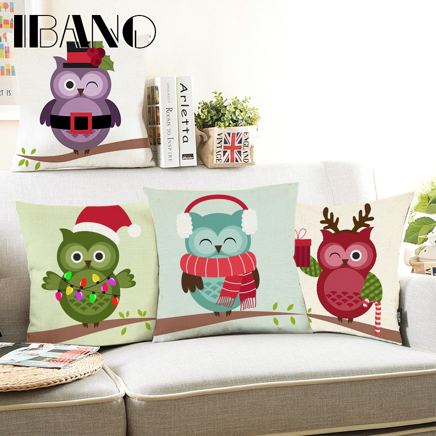 Christmas Festival Cartoon Images.Us 3 78 5 Off Cushion Cover Christmas Festival Dachshund 45x45cm Happy Birthday Cartoon Owl Pillow Cases New Year Gift Bedroom Sofa Decoration In