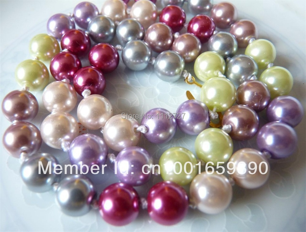Accessory Crafts Parts SouthSea Pearls Chains Beads Necklaces 8mm Multicolor Perfectly Round 17Inch Wholesale Fitting Female