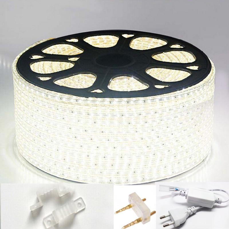 A luz de tira conduzida 220 120led/m da c.a. 3014 v waterproof a fita do diodo emissor de luz ip65 com tomada de alimentação conduziu a lâmpada branca morna azul branca do diodo emissor de luz da corda