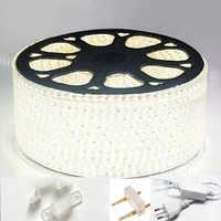 La lumière 220 V de bande d'ac 3014 120led/m imperméable IP65 a mené la bande avec la prise de puissance a mené la lampe à led bleue blanche chaude de ruban de corde