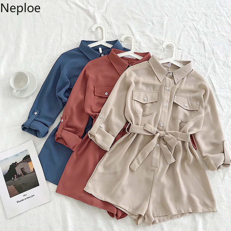 Nepole Solid Buttons Pockets Women Clothing Loose High Waist Playsuits 2020 Spring Autumn New Chic Chiffon Short Bodysuits 42931