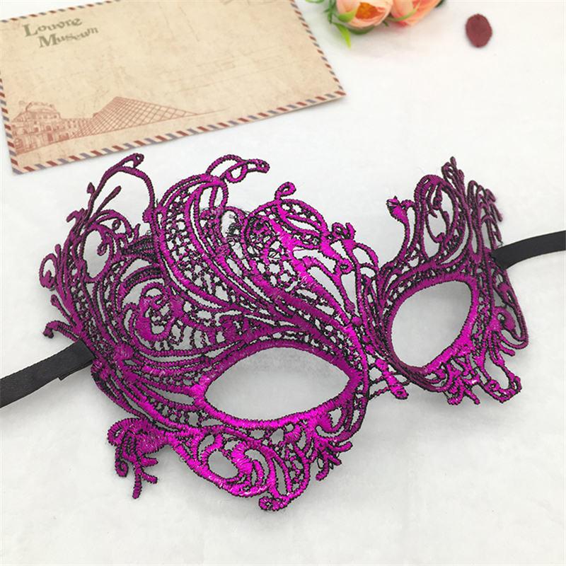 Фиксированная форма, Дамская Сексуальная Маскарадная маска из кружева для карнавала, Хэллоуина, выпускного вечера, Вечерние Маски, фиолетовые, горячее тиснение#35 - Цвет: PM016TZ