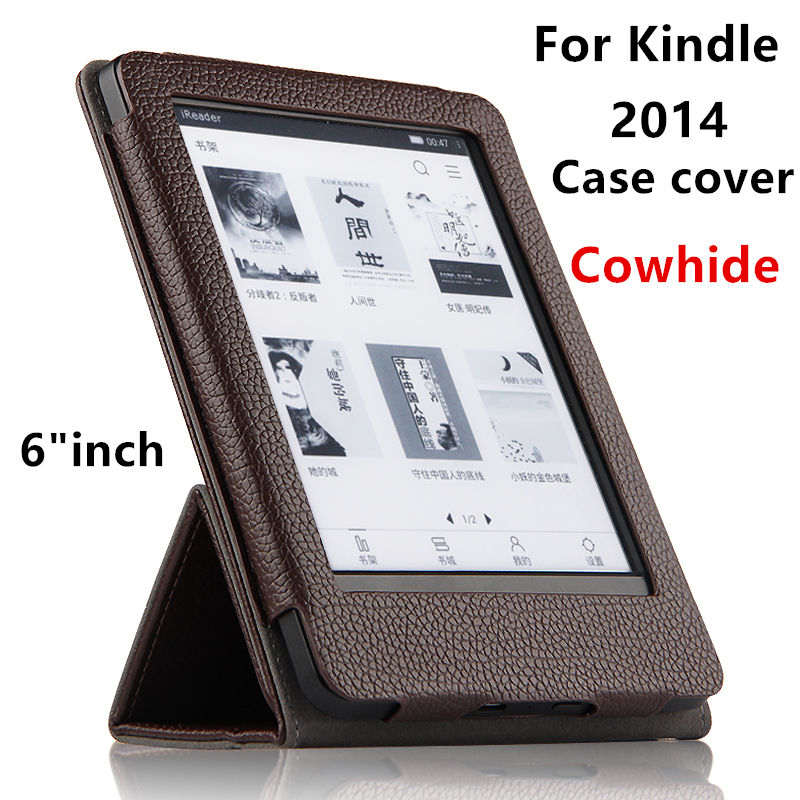 Case Cowhide For Kindle 2014 wp63gw Protective eBook Reader Smart Cover Genuine leather For Amazon Kindle 2014 6 Sleeve Cases case cowhide for amazon kindle paperwhite 3 2 1 protective ebook reader smart cover protector genuine leather sleeve 6 cases