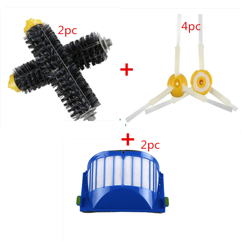 Replacement Vacuum Cleaner Parts Set 2pc Filter & 2pc Brush Kit & 4pc Side Brushes For Vacuum Cleaner 600 Series 620 630 650 660 2 brush 3 side brush 3 hepa filter 1 cleaning cylinder robot vacuum cleaner 610 611 627 620 630 650 replacement parts