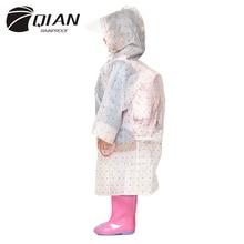QIAN REGENDICHT Undurchlässig Kinder Regenmantel Kunststoff Transparent EVA Regen Mantel Wasserdicht Kinder Regenbekleidung Regen Getriebe Poncho