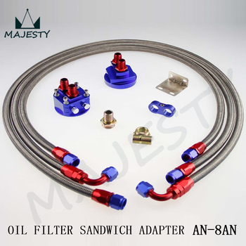 "3/4"" AN-8 THREAD OIL COOLER FILTER RELOCATION + 8AN  BRAIDED STEEL OIL LINE KIT"