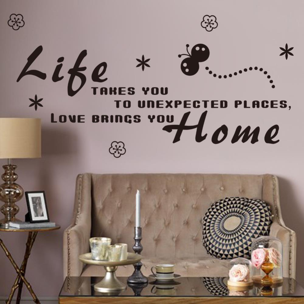Butterfly Letter Love Brings You Home Room Decor Decals Vinyl Wall Sticker