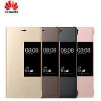 Original teléfono casos para Huawei P9 Flip respuesta inteligente Vista de ventana de cuero sintético para Huawei Ascend P9 P9 plus funda