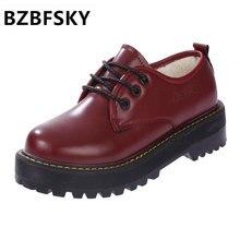 Обувь на плоской подошве на шнурках в британском стиле обувь с круглым носком повседневная дамская обувь на платформе