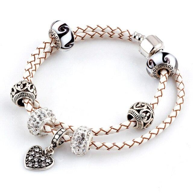 Lato w stylu biały serce prawdziwej skóry bransoletka łańcuch nadające się do Charms bransoletki DIY stop metali szkła europejski Big Hole koraliki