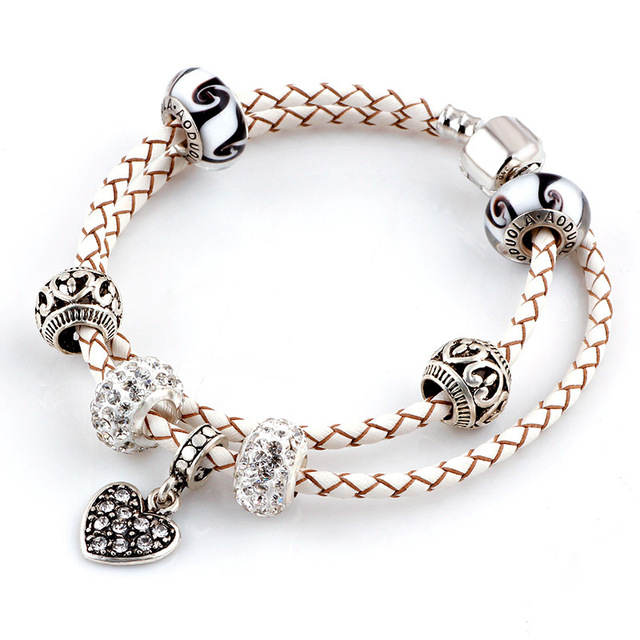 Summer Style White Heart Genuine Leather Bracelet Chain Fit For Charms Bracelets Diy Metal Alloy Gl