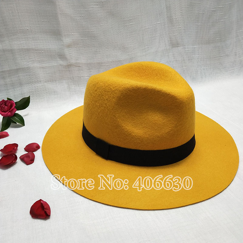 1835f05e4f3 Winter Yellow Women Wide Brim Wool Felt Fedora Hats With Letters Chapeu  Feminino Free Shipping SDDW073