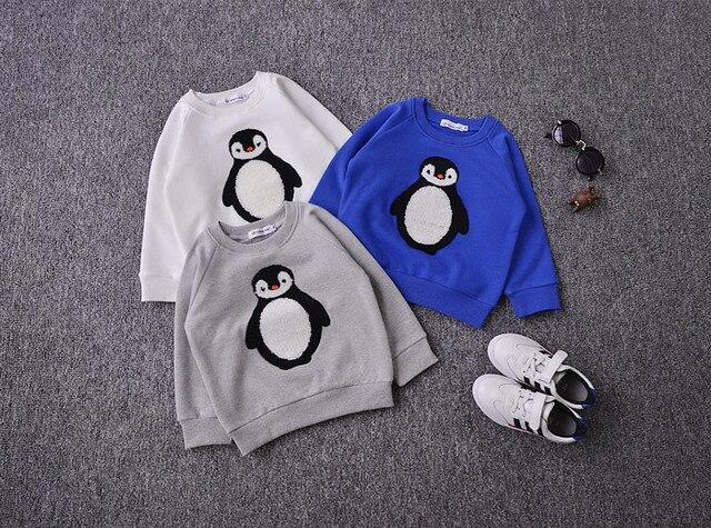 Baby boy одежда дети ТОЛСТЫЕ толстовки мультфильм ребенка хлопок флис толстовки ДЕТИ пингвин шаблон МАЛЬЧИКОВ ТОЛСТОВКИ ДЕТСКАЯ ОДЕЖДА