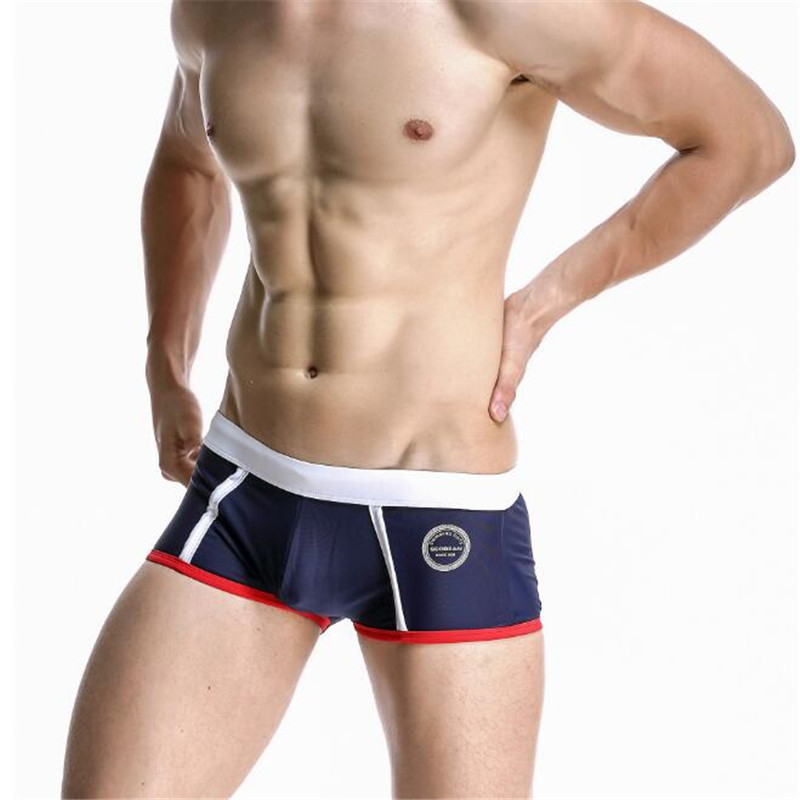 Topdudes.com - Men's Sexy Low Waist Boxer Beach Trunks