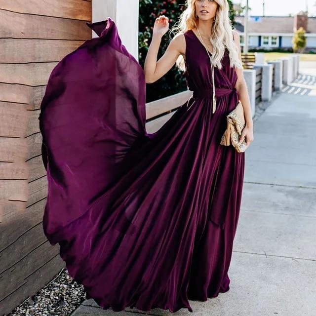2019 New Sleeveless Evening Party Dress Woman Boho Beach Dress Sexy V-neck Floor -length Summer Chiffon Long Maxi Dress Vestidos