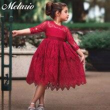 Melario/кружевное платье для девочек, новинка года, стиль принцессы, Детская сетчатая одежда, платье, Детские однотонные свадебные платья, летнее платье для девочек