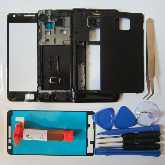 Phone Replacement Parts For Samsung Galaxy SII i9100 Full Housing Front Frame/Middle bezel & Rear Case&Outer Glass& LOCA glue