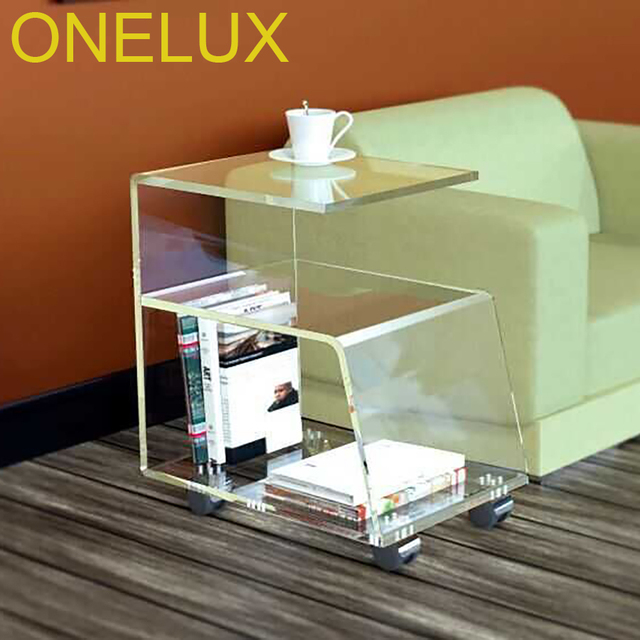 G Shaped Acrylic Occasional Side Sofa Tea Table On Wheels Lucite Rolling Magazine Book Cart For Home Use