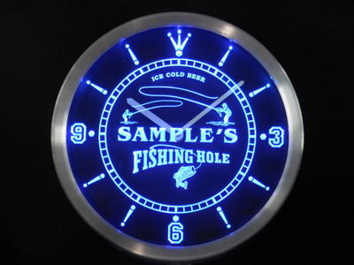ncqx-tm Name Personalized Custom Fly Fishing Hole Sign Bar Neon Sign LED Clock Wholesale Dropshipping