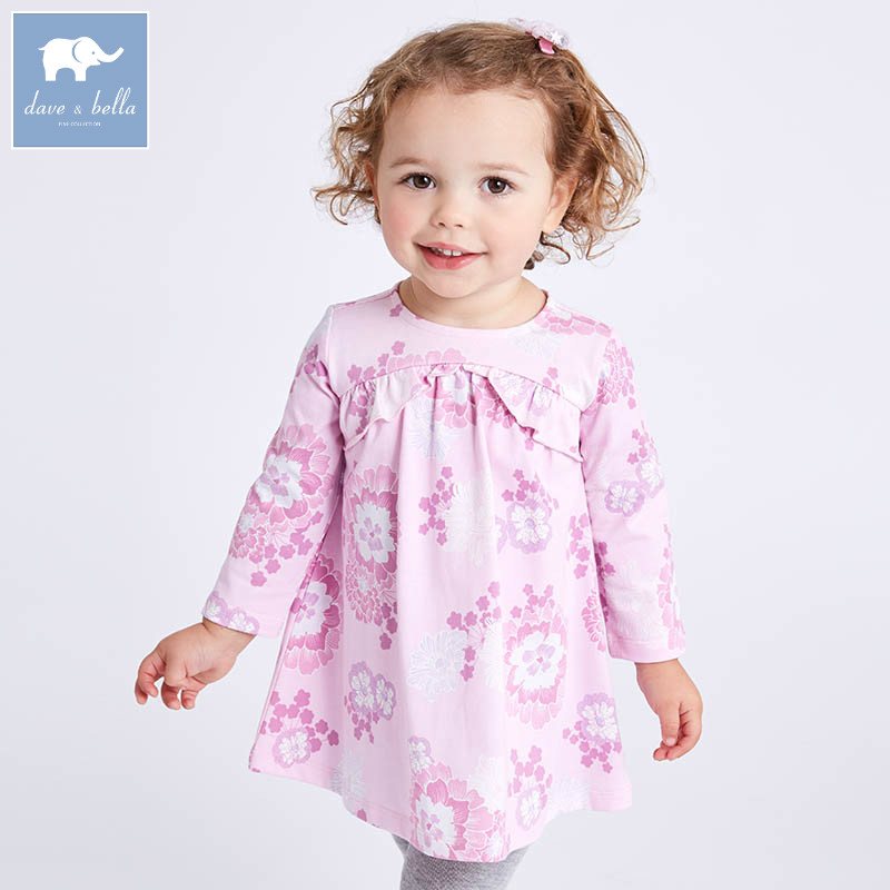 DBA6681 dave bella spring infant baby girl's princess dress fashion floral birthday party dress toddler children clothes db5498 dave bella baby girl lolita dress stylish printed peter pan collar dress toddler children dress